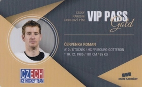 ČERVENKA Roman Czech Ice Hockey Team 2018 VIP Pass Gold č. 2