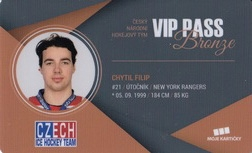 CHYTIL Filip Czech Ice Hockey Team 2018 VIP Pass Bronze č. 14