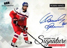 HANZL Robin Czech Ice Hockey Team 2018 National Pride Signature č. 40 Silver /20