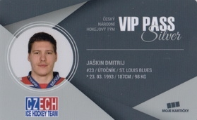 JAŠKIN Dmitrij Czech Ice Hockey Team 2018 VIP Pass Silver č. 9