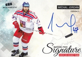 JORDÁN Michal Czech Ice Hockey Team 2018 National Pride Signature č. 11 Silver /20