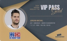 JORDÁN Michal Czech Ice Hockey Team 2018 VIP Pass Gold č. 3