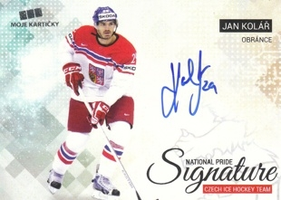 KOLÁŘ Jan Czech Ice Hockey Team 2018 National Pride Signature č. 14 Silver /20
