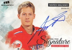MAZANEC Marek Czech Ice Hockey Team 2018 National Pride Signature č. 20 Gold /10
