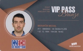 MORAVČÍK Michal Czech Ice Hockey Team 2018 VIP Pass Bronze č. 15