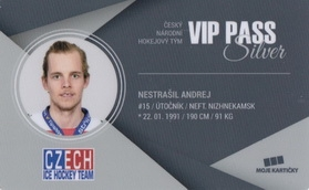 NESTRAŠIL Andrej Czech Ice Hockey Team 2018 VIP Pass Silver č. 8