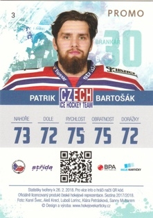 BARTOŠÁK Patrik Czech Ice Hockey Team 2018 č. 3 PROMO