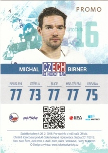 BIRNER Michal Czech Ice Hockey Team 2018 č. 4 PROMO