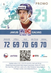 GALVAS Jakub Czech Ice Hockey Team 2018 č. 9 PROMO
