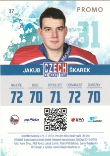 ŠKAREK Jakub Czech Ice Hockey Team 2018 č. 37 PROMO