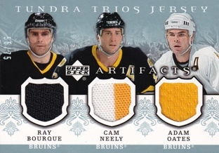 BOURQUE NEELY OATES UD Artifacts 2007/2008 Tundra Trios Jersey 56/75